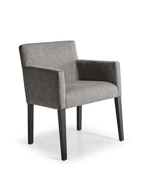 Blue, upholstered armchair
